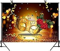 Zhyマスカレードマスク写真の背景 7X5FT新しいビニール ローズカラフルなリボンの背景 ビクトリア化粧パーティーの装飾バナー 写真撮影の小道具233