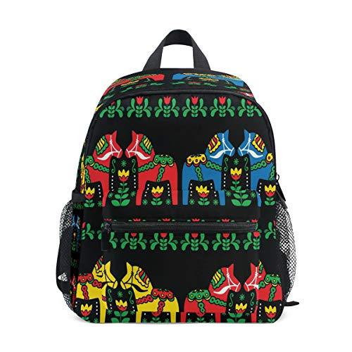 RXYY Kinder-Rucksack, Ethno-Stil, schwedisches Dala-Pferd, schwarz, Kunstschulter, Reise, Kleinkind, Schultasche, Rucksack mit Brustgurt für Mädchen und Jungen