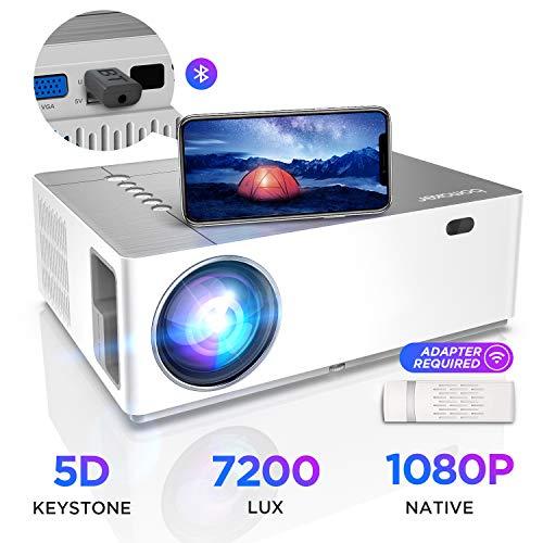 Proiettore BOMAKER 7200 Lumen Nativo Full HD 1080p, ± 50° Correzione Trapezoidale Zoom, 300''Display Supporta 4K/Dolby/2USB/2HDMI/SD/AV/VGA Per Office Work e Film all'Aperto