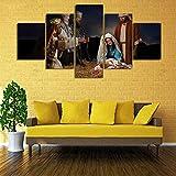 Bvc Moderne Gemälde Jesus Geburt 3 Weise Männer Geburt Poster 5 Panel Segeltuch Drucken Wandkunst Wohnkultur,B,10×15×2+10×20×2+10×25×1