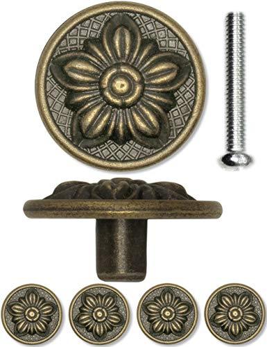 FUXXER®- 4x antieke meubelgrepen, lade-knoppen, landhuis vintage design brons ijzer messing meubels kasten commodes keuken buffet, 30 x 15 mm, bloem, 4-delige set