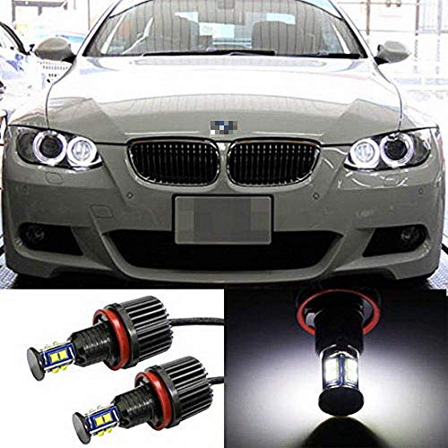 iJDMTOY 360? H8 LED Angel Eye Ring Marker Bulbs Compatible With BMW 1 3 5 Series Z4 X5 X6, Powered by 80W XB-R5 High Power CREE LED Lights