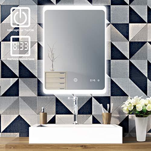 SOGOO® Nouvelle Génération L60 x H80cm 18W Lampe Miroir Salle de Bain LED Miroir Lumineux Salle de Bain LED Miroir Salle de Bain avec Éclairage Intégré LED Lumière Blanc Froid 6500K