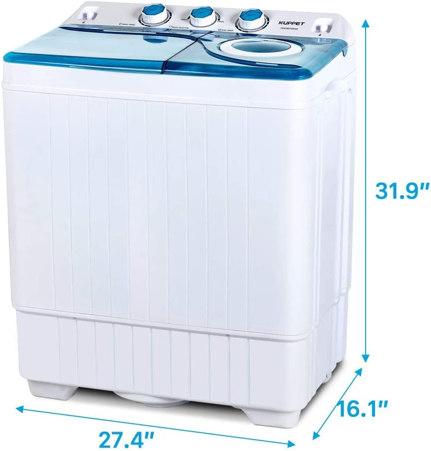 /&Spiner 8lbs Topvendor 26Lbs Portable Compact Mini Twin Tub Washing Machine with Built-in Drain Pump,Semi-Automatic,Washer White/&Blue 18lbs