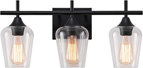 lowest LHLYCLX new arrival 3-Light Dimmable lowest Vanity Light, Farmhouse Bathroom Glass Shade Black Vanity Lights Over Mirror (Black) outlet online sale