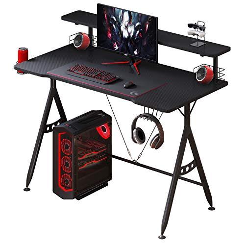 Computer Desk for Home,Office Desk PC Gaming Desk with Monitor Shelf, Professional Gamer Table Computer Workstation, Headphone Hook,Cup Holder,Gaming Handle Rack and Speaker Holders
