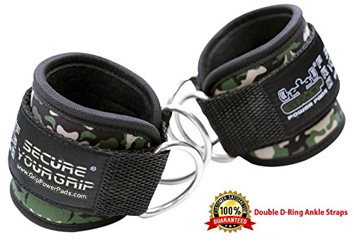 Best Ankle Straps for Cable Machines Double D-Ring Adjustable Neoprene Premium Cuffs to Enhance Legs, Abs & Glutes for Men & Women (Green Camo, Pair)