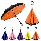 Rainz Winddichter Wende-Regenschirm   Großer, doppellagiger, umkehrbarer Klappschirm   Selbststehender Griff   robuster Kohlefaser-Schaft   zweifarbiges Design, Orange (Orange) - .