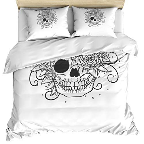 Crystal Emotion Skull and Rose Bedding Duvet Covers Set 3 Pieces King, Ultra Soft Breathable Bedding Set with Corner Ties and Zipper Closure(1 Bed Covers + 2 Pillow Shams), Washed Cotton