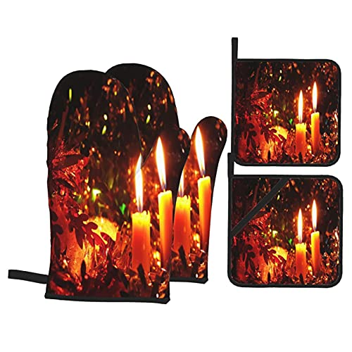 Presine e Guanti da Forno Set,Sfondo di ornamenti natalizi a lume di candela Guanti da Cucina Resistenti al Calore e Set di Presine da Cucina, per Cucinando Cottura Grigliare BBQ