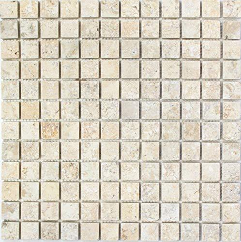 Mosaik Fliese Kalkstein Naturstein weißgelb Seabed Limestone brushed MOS29-48023