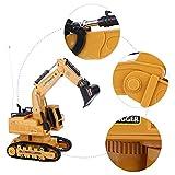Dilwe Trattore RC, 2.4 GHz 1/12 RC Costruzione Auto Escavatore 10 canali Full Functional Escavatore Escavatore terne per Giocattolo Regalo per Bambini