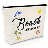 Beach Lover Gift Makeup Bags Beach Beach Survival Kit Funny Vacation Gift Beach Themed Gifts for Women Cosmetic Bags Birthday Christmas Graduatio Gift Travel Cosmetic Pouch