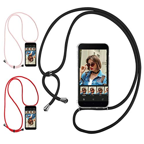 Ingen 3Pcs Funda con Cuerda para Xiaomi Mi A1 - Carcasa Transparente TPU Suave Silicona Case con Colgante - Negro + Rosa + Rojo