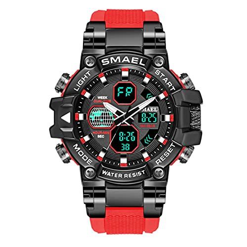 SMAEL Relojes Deportivos para Hombre Resistente Al Agua Digital Militares Relojes Multifuncional Militar Reloj para Hombre,Rojo