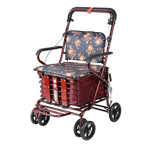 SXRNN Aluminium Rollator Faltbar und Leicht Gehwagen mit gepolstertem Sitz und Korb Laden Sie 120 kg,Blumen