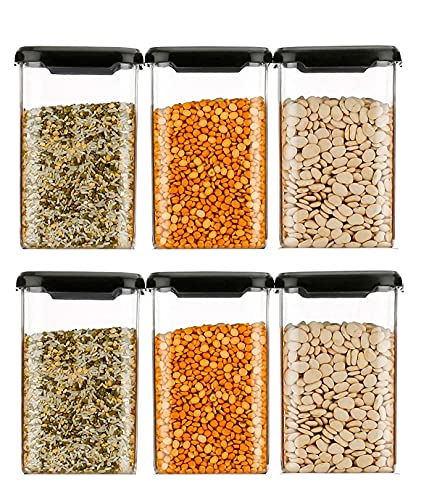 PRAMUKH FASHION Dispenser Easy Flow Storage Jar 1100 ml, Idle for Kitchen- Storage Box Lid Food Rice Pasta Pulses Container, Square Containers for Kitchen Set of 6||Black Color (6)