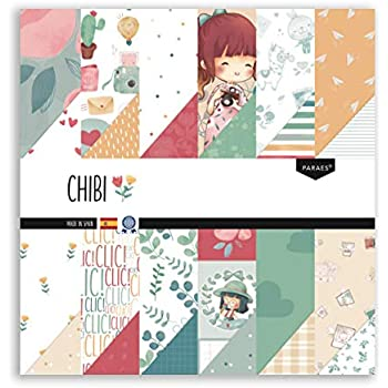 PARAES Papel Scrapbooking 30x30-12 hojas a doble cara, 24 diseños - Colección CHIBI, Papel Scrapbook, Scrapbooking Papeles, Papel Scrap, Scrapbooking Materiales, Papeles Decorados,: Amazon.es: Hogar