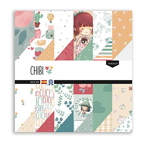 PARAES Papel Scrapbooking 30x30-12 hojas a doble cara, 24 diseños - Colección CHIBI, Papel Scrapbook, Scrapbooking Papeles, Papel Scrap, Scrapbooking Materiales, Papeles Decorados,
