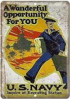アメリカ海軍リクルートステーションブリキサインヴィンテージノベルティおかしい鉄の絵の金属板