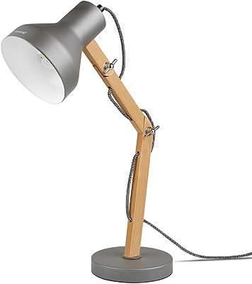 Tomons Lámpara de Escritorio de Madera, Lámpara de Mesa Diseñada, de Lectura, Estudio, Trabajo, Oficina, Cabecera de Noche, LED, Incluyendo Bombilla: Amazon.es: Iluminación
