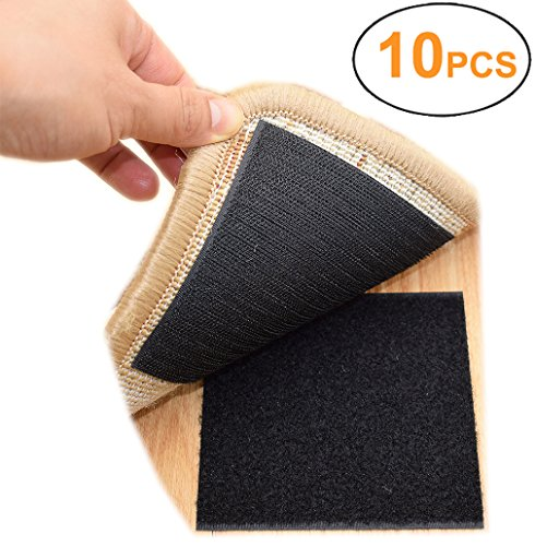 Rug Anchors Carpet Hook and Loop Non-Slip Mat Anti-Skid Stickers Square (10PCS, Black)