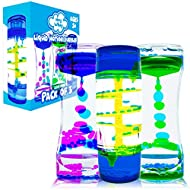 HeyWhey Liquid Motion Bubbler Timer- Ideal Sensory Toy for Kids and Adults, 3-Pack, Calming Stress Relief Fidget Toys for Kids with ADHD, Anxiety, and Autism,Desk Decor for Special Education Classroom
