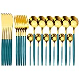 Set de cubiertos de oro de acero inoxidable Juego de cubiertos de 24 piezas Cuchillas de cuchillas Forks de cucharas Conjunto de vajillas Conjuntos de platos Conjunto de cena
