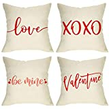 Softxpp Valentine's Day Throw Pillow Cover Set of 4, Be Mine Valentine Love XOXO Decorative Cushion Case Red, Rustic Home Decoration Holiday Pillowcase Decor for Sofa Couch 18'' x 18'' Cotton Linen