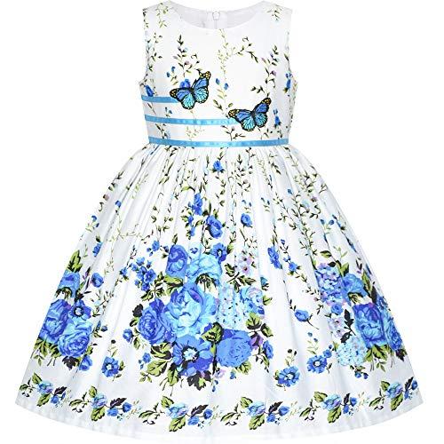 Sunny Fashion Mädchen Kleid Blau Schmetterling Beiläufig Blumen- Party Gr. 128-134