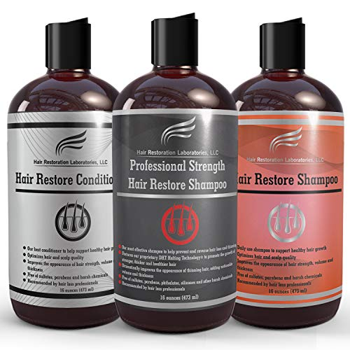 Hair Restoration Laboratories - Hair Restore Shampoo, Conditioner and Professional Strength Shampoo Set, DHT Blocker for Hair Loss, Effectively Thickens Thinning Hair for Men and Women, 3 x 16 oz