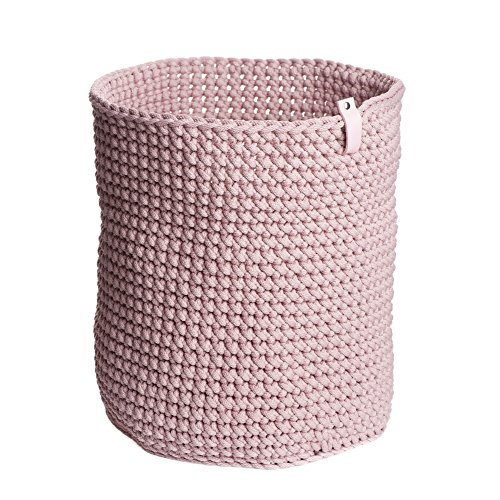 "Pink Rope Crochet Storage Basket H 14.7"" W 11.8"" Cylinder Basket Toy Basket Plant Basket Laundry Basket Nursery Storage Bathroom Storage Housewarming Gift Home Decoration"