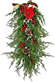 PJPPJH Guirnalda de Navidad Vid de Aguja de Pino de Navidad, Aguja de Pino de ratán de Navidad Artificial Guirnalda de botín de Bayas Rojas para la decoración navideña de Invierno en casa