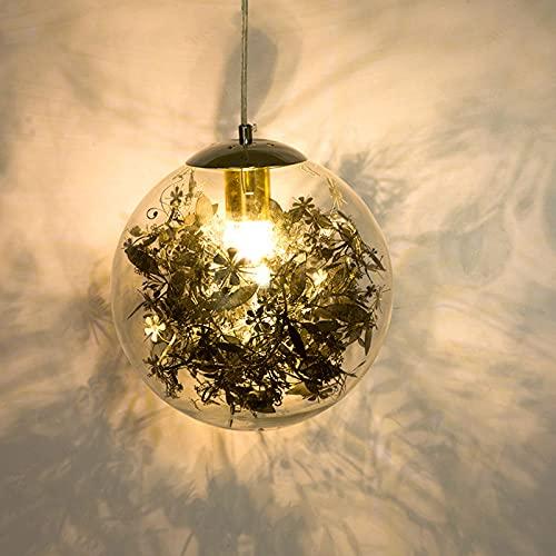 DULG Lámpara colgante de cristal de decoración de flores talladas a mano moderna nórdica Lámpara de araña pequeña redonda de lujo Iluminación LED de interior Lámpara colgante creativa Restaurante Tien