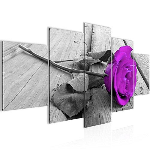 Runa Art Bilder Blumen Rose Wandbild 200 x 100 cm Vlies - Leinwand Bild XXL Format Wandbilder Wohnzimmer Wohnung Deko Kunstdrucke Violett 5 Teilig - Made IN Germany - Fertig zum Aufhängen 204451b