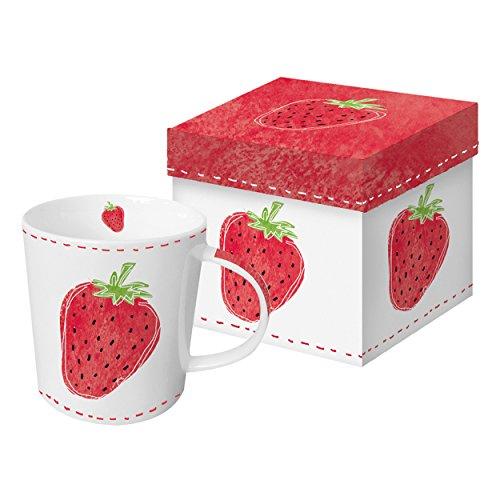 PPD Fashion Strawberry Trend-Henkelbecher, Kaffeebecher, Kaffee Tasse, Magnesiumporzellan, Rot / Weiß / Hellgrün, 350 ml, 602734