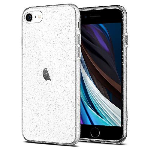 Spigen Liquid Crystal Glitter Kompatibel mit iPhone SE 2020 Hülle, iPhone 8/7 Hülle Glitzer Design Silikon Schutzhülle Case Crystal Quartz 042CS21760