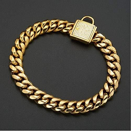Collar de cadena de perro dorado para mascotas Collar de acero inoxidable de 14 mm con hebilla de cristal para todo el perro Pitbull Bulldog Collar de plomo solo 14 mm x 70 cm