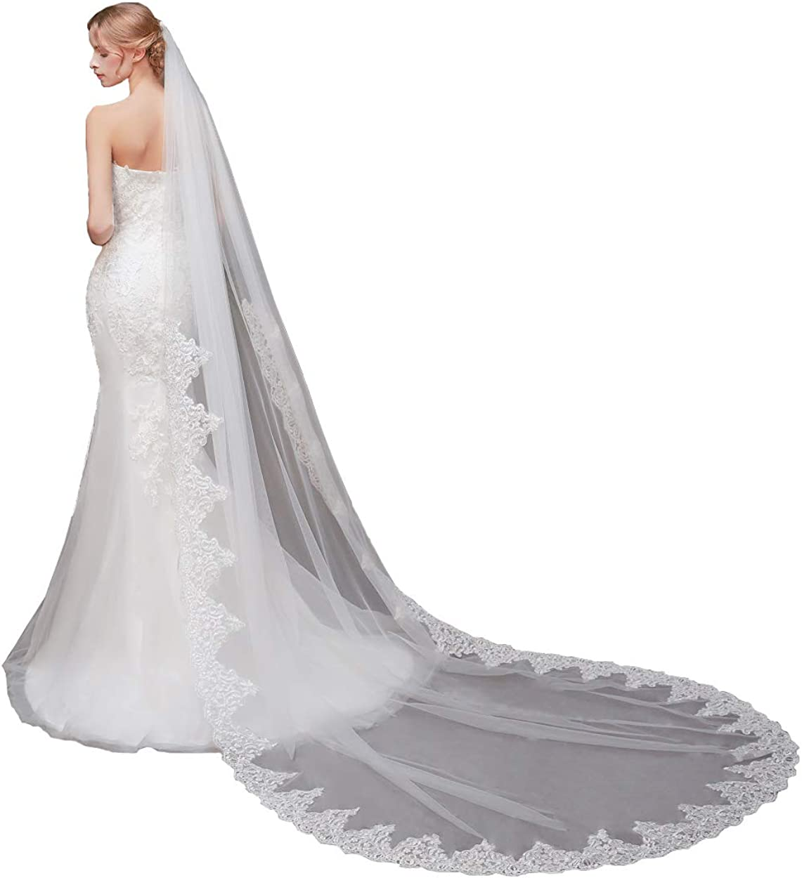 Elawbty Women Long Lace Wedding Veil 1 Tier Cathedral Length Bridal Veil With Comb