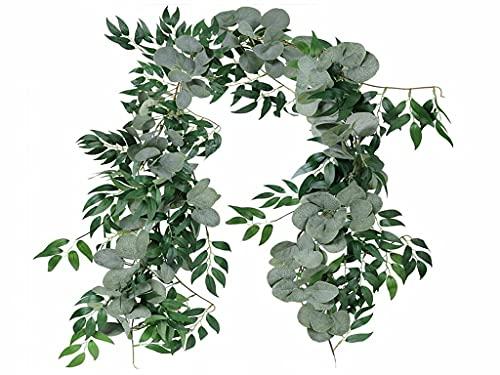 Anlising Guirnalda de eucalipto artificial, planta artificial de 15 m de eucalipto para plantas artificiales de eucalipto para colgar hojas de vid, boda, decoración del hogar, jardín (verde)