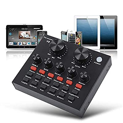 Tree2018 Sound Mixer Board with Voice Changer and Sound Effects, Audio DJ Mixer for Phone Computer Game Tablets with 3.5mm Audio Jack, Live Sound Card Broadcast Streaming Karaoke Recording (Black)
