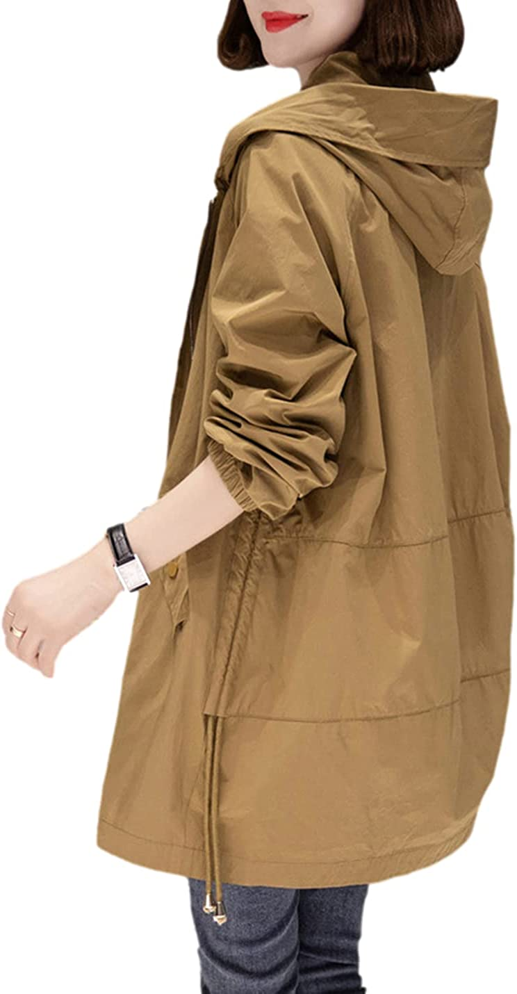 Omoone Women's Casual Lightweight Military Safari Anorak Utility Hoodie Jacket Outwear
