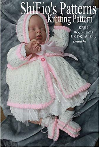 Strickanleitung  – KP219 -  Baby Jacke, Hut und booties 2 Größen