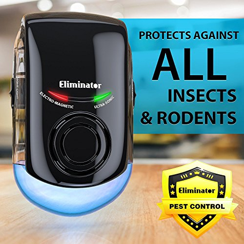 Eliminator Plug-in Pest Repeller with LED Night Light – Eradicates All Types of Insects and Rodents [UPGRADED VERSION]