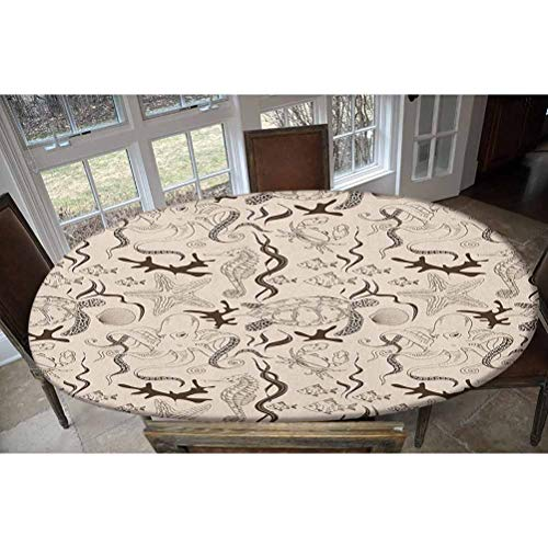 LCGGDB Elastic Polyester Fitted Table Cover,Contemporary Illustration of Marine Animals in Retro Style Octopus Crab Seahorse Art Oblong/Oval Elastic Fitted Tablecloth,Fits Tables up to 48' W x 68' L