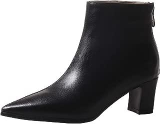 Mofri Women's Trendy Solid Zipper Pointed Toe Ankle High Block Mid Heel Short Boots