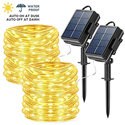 Solar String Lights Outdoor Rope Lights, 2 Pack 78.7Foot 20M 200 LED Waterproof Solar Rope Tube for Garden, Fence, Yard, Party, Wedding,Christmas Tree Décor (2 Pack 65 ft 200 LED)