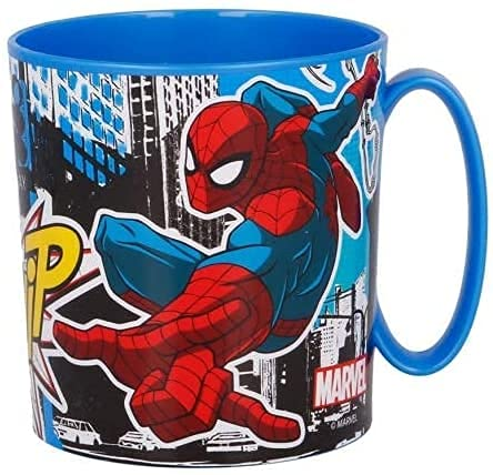 Tazza Bicchiere in plastica 350ml per Microonde con manico Bambini colazione BPA-free (Spiderman)