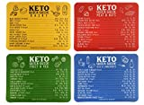 Keto Cheat Sheet Magnets (Set of 4); Quick Guide Fridge Magnet Reference Charts for Ketogenic Diet Foods