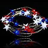BOHON Independence Day Decor LED String Lights Battery Operated with Remote 10 ft 40 LEDs USA American Stars Flag Lighting String Lights for Bedroom Patriotic Decoration Memorial Day Presidents Day